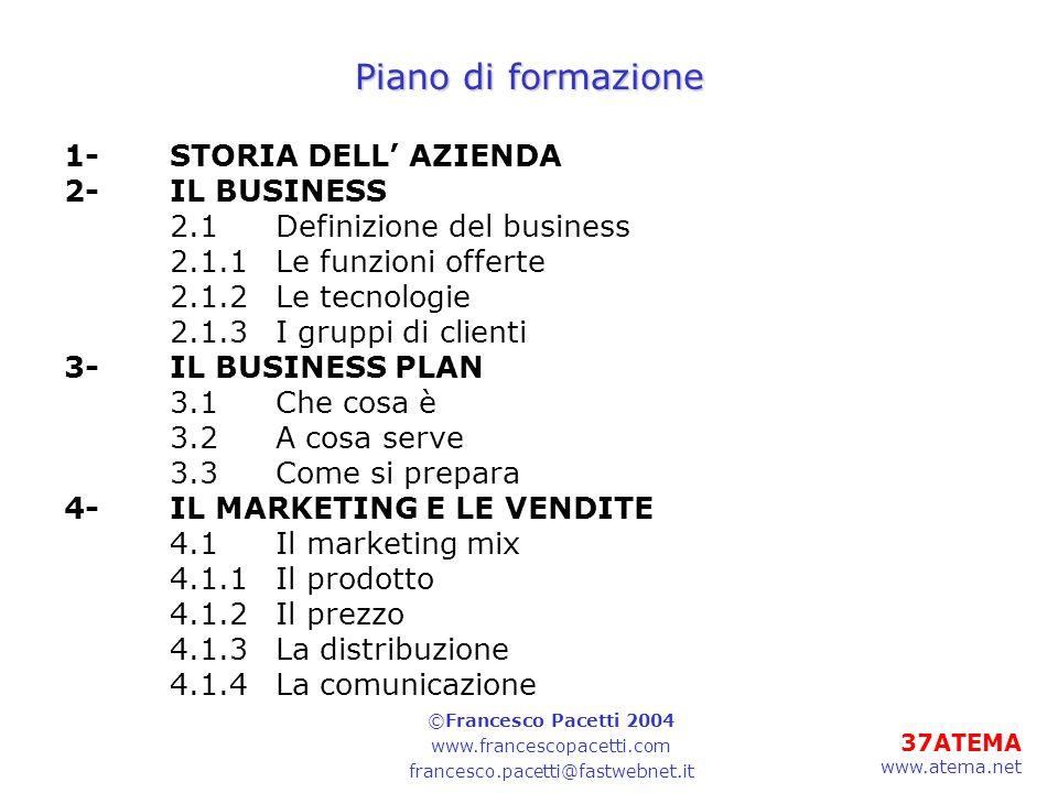 Piano di formazione 1- STORIA DELL' AZIENDA 2- IL BUSINESS