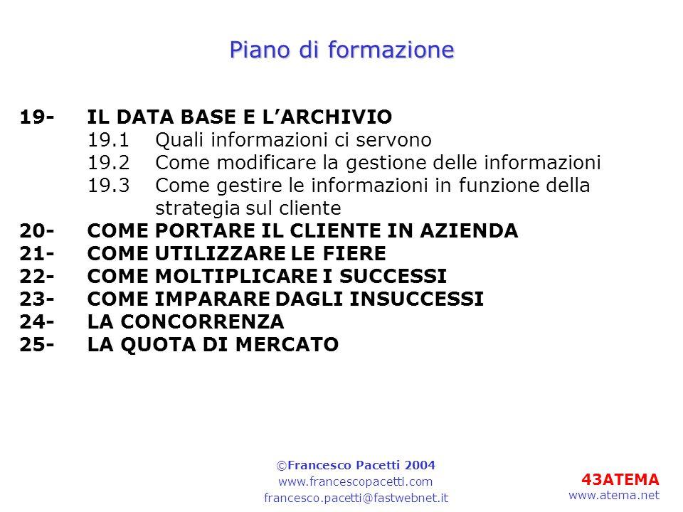 Piano di formazione 19- IL DATA BASE E L'ARCHIVIO