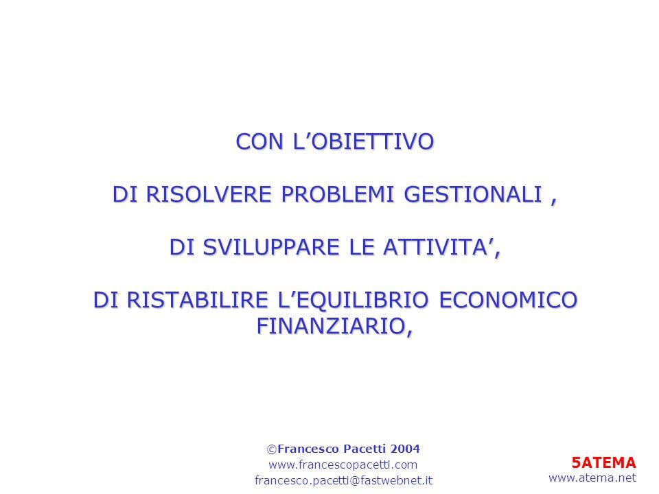 CON L'OBIETTIVO DI RISOLVERE PROBLEMI GESTIONALI , DI SVILUPPARE LE ATTIVITA', DI RISTABILIRE L'EQUILIBRIO ECONOMICO FINANZIARIO,
