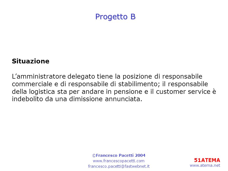 Progetto B Situazione. L'amministratore delegato tiene la posizione di responsabile.
