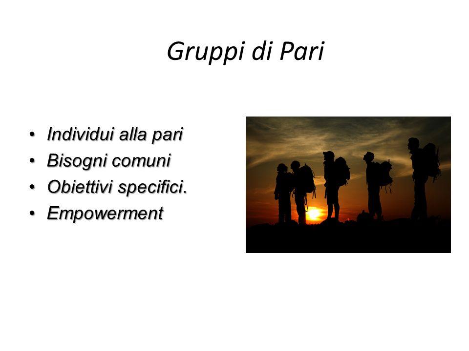 Gruppi di Pari Individui alla pari Bisogni comuni Obiettivi specifici.