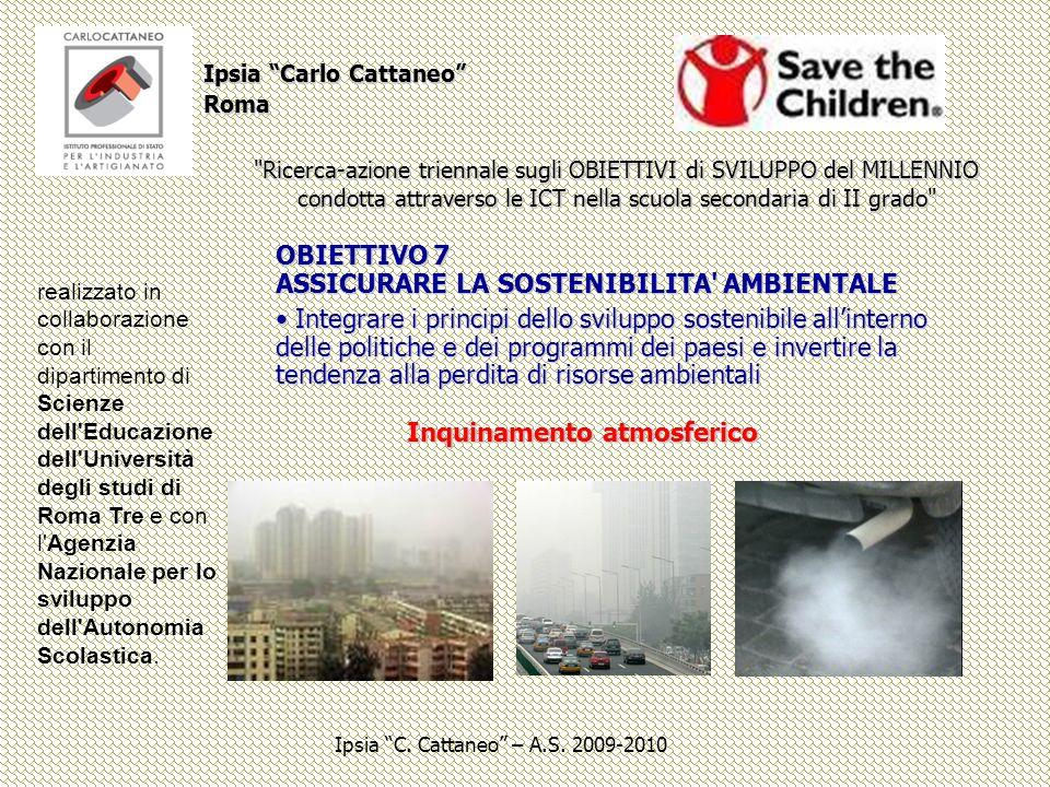OBIETTIVO 7 ASSICURARE LA SOSTENIBILITA AMBIENTALE