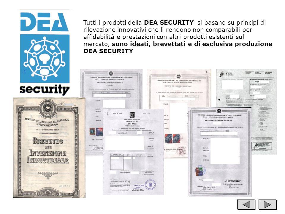 Tutti i prodotti della DEA SECURITY si basano su principi di rilevazione innovativi che li rendono non comparabili per affidabilità e prestazioni con altri prodotti esistenti sul mercato, sono ideati, brevettati e di esclusiva produzione DEA SECURITY