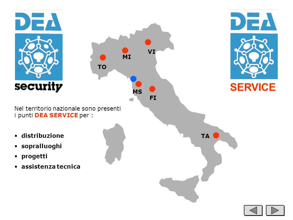SERVICE VI. MI. TO. MS. FI. Nel territorio nazionale sono presenti i punti DEA SERVICE per : distribuzione.