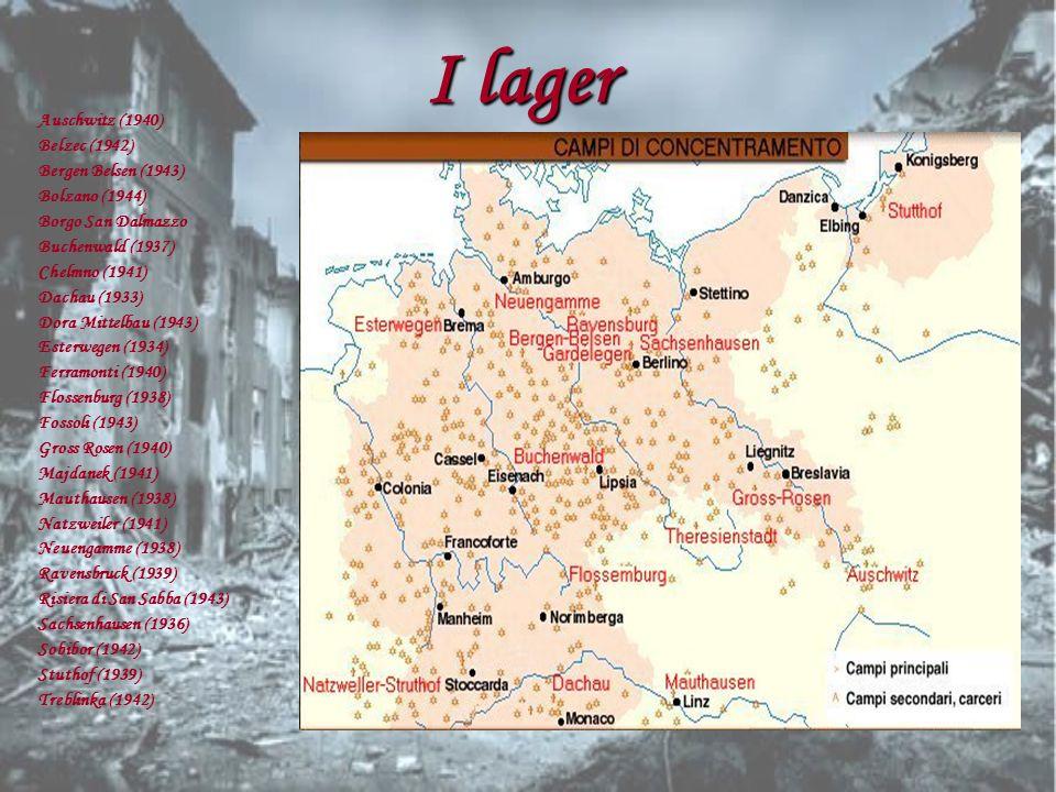 I lager Auschwitz (1940) Belzec (1942) Bergen Belsen (1943)