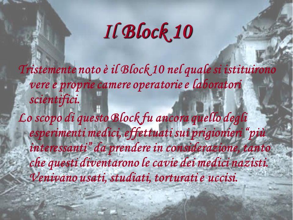 Il Block 10Tristemente noto è il Block 10 nel quale si istituirono vere e proprie camere operatorie e laboratori scientifici.