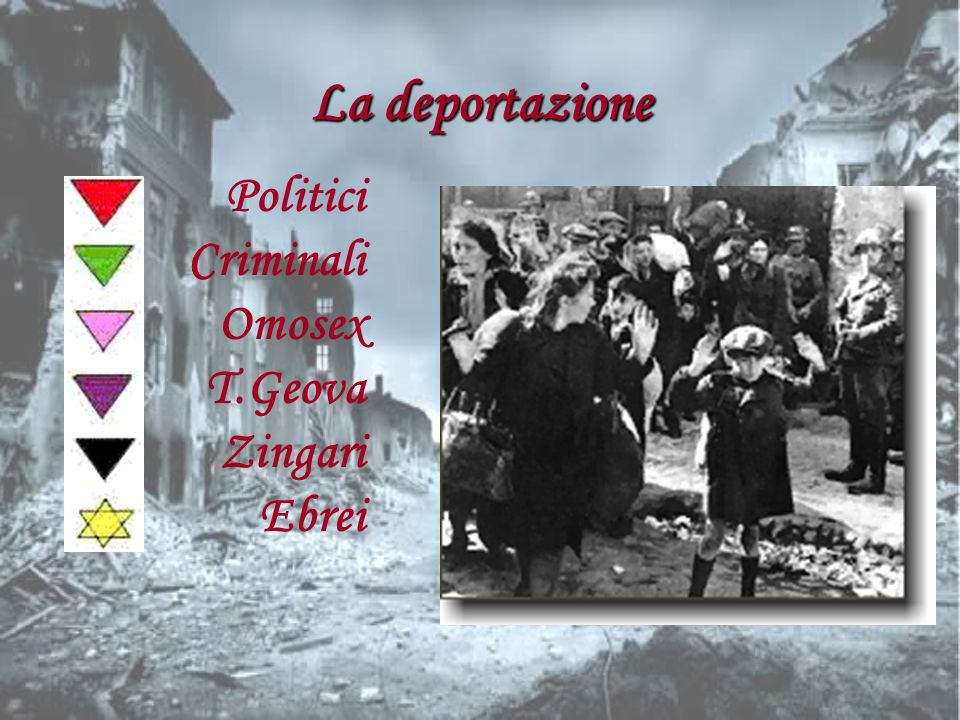 La deportazione Politici Criminali Omosex T.Geova Zingari Ebrei