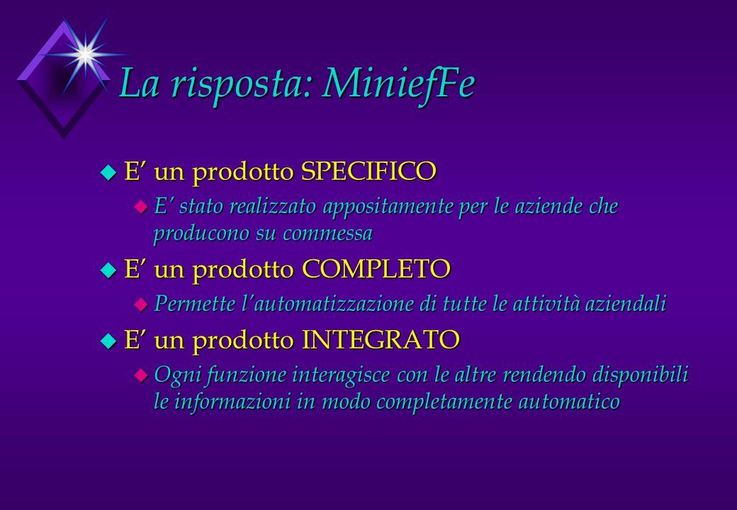 La risposta: MiniefFe E' un prodotto SPECIFICO E' un prodotto COMPLETO