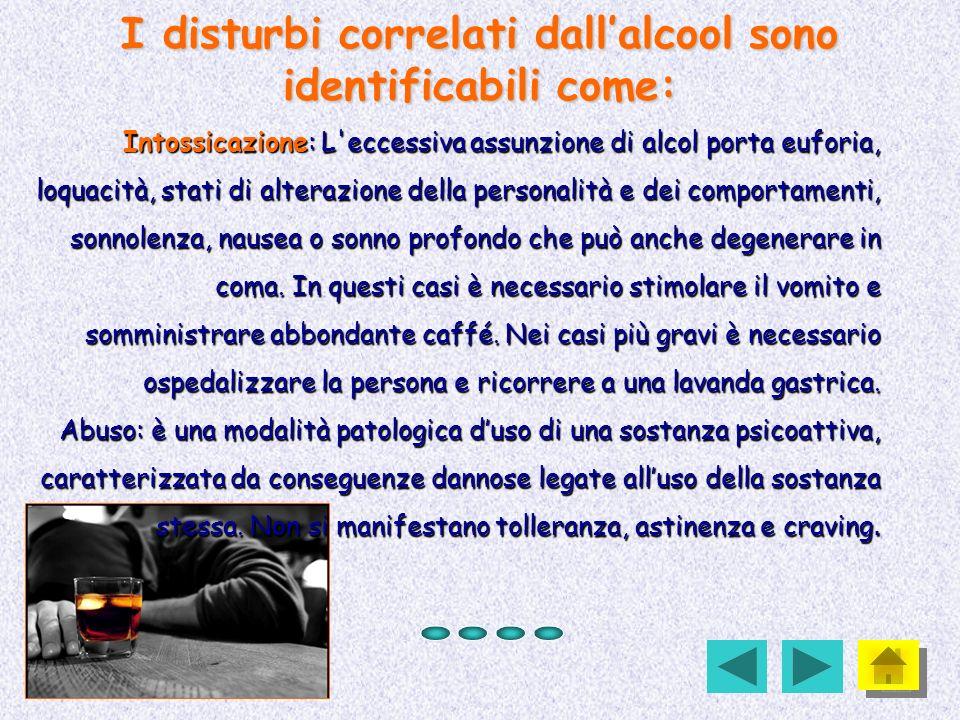 I disturbi correlati dall'alcool sono identificabili come: