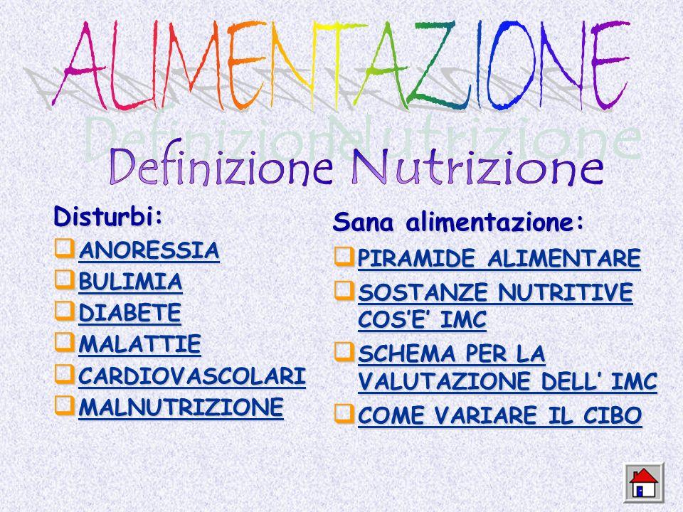 ALIMENTAZIONE Definizione Nutrizione Disturbi: Sana alimentazione: