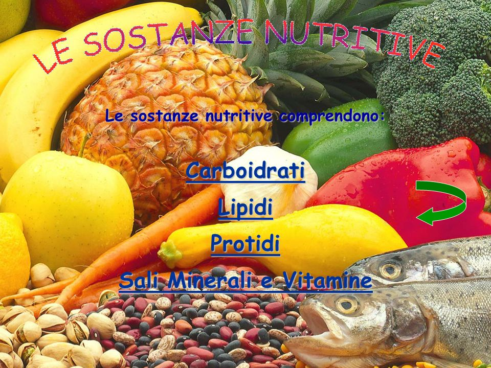 Le sostanze nutritive comprendono: Sali Minerali e Vitamine