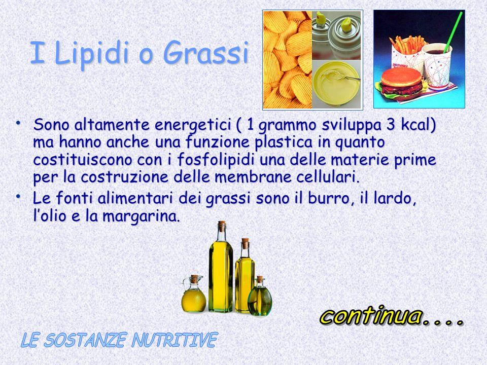 I Lipidi o Grassi continua.... LE SOSTANZE NUTRITIVE