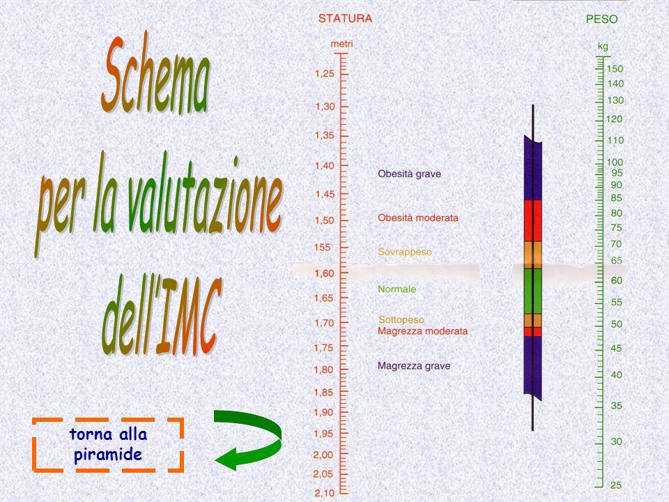 Schema per la valutazione dell'IMC torna alla piramide