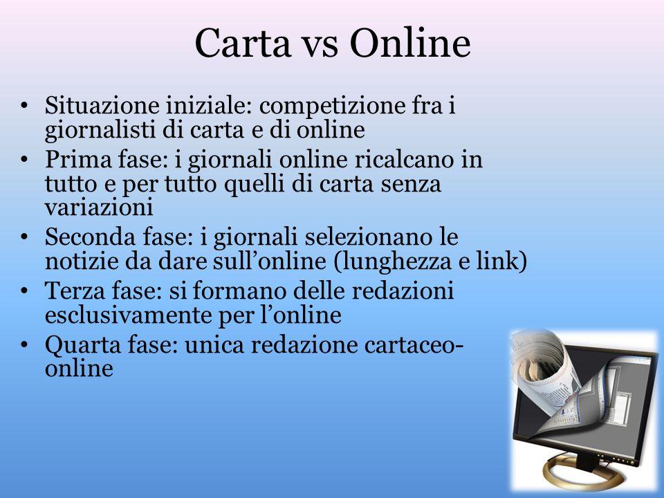 Carta vs Online Situazione iniziale: competizione fra i giornalisti di carta e di online.