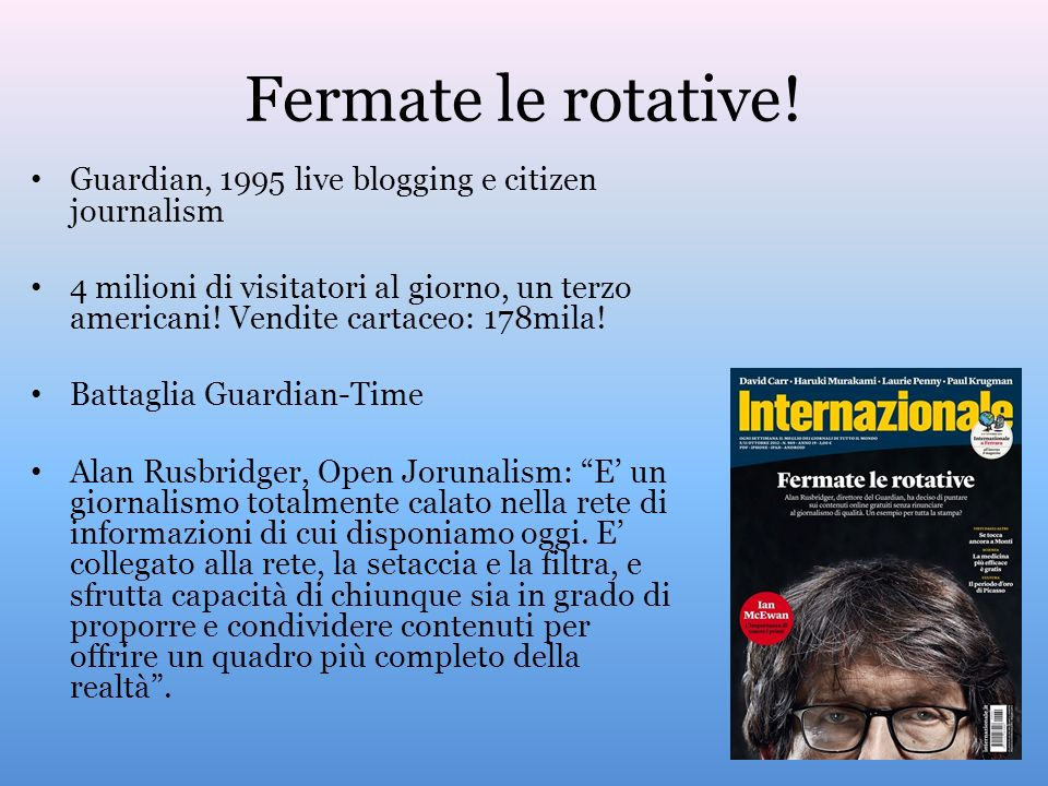 Fermate le rotative! Guardian, 1995 live blogging e citizen journalism
