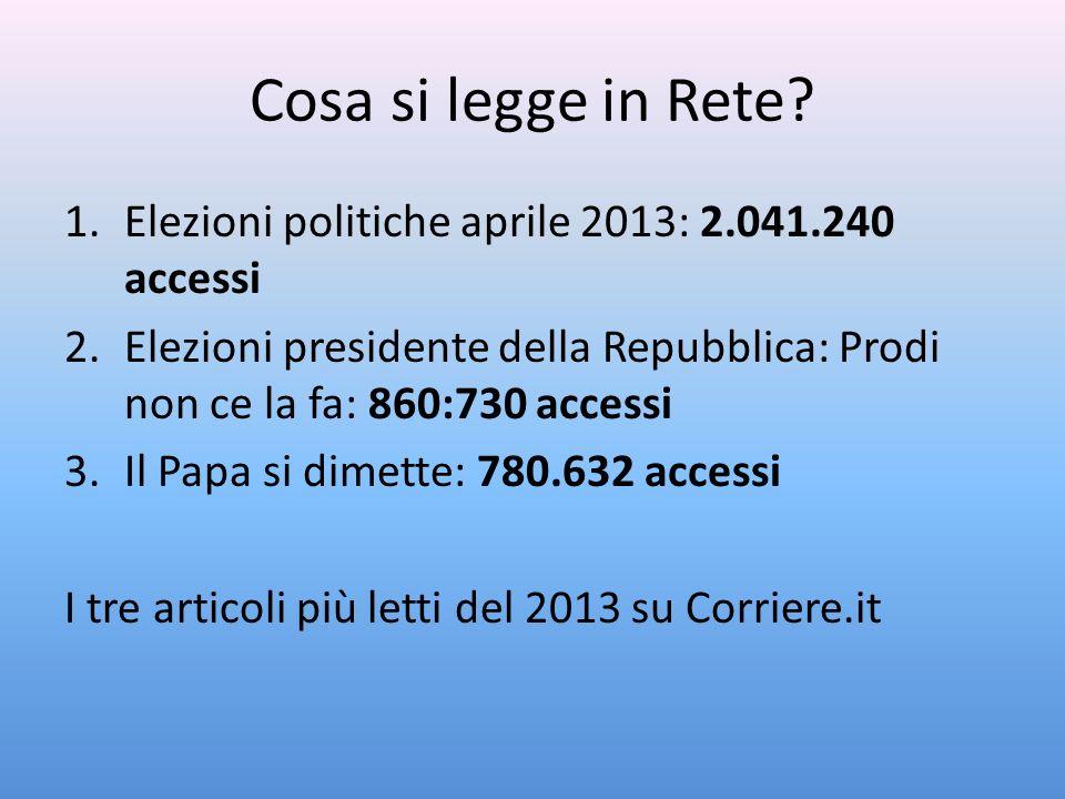 Cosa si legge in Rete Elezioni politiche aprile 2013: 2.041.240 accessi. Elezioni presidente della Repubblica: Prodi non ce la fa: 860:730 accessi.