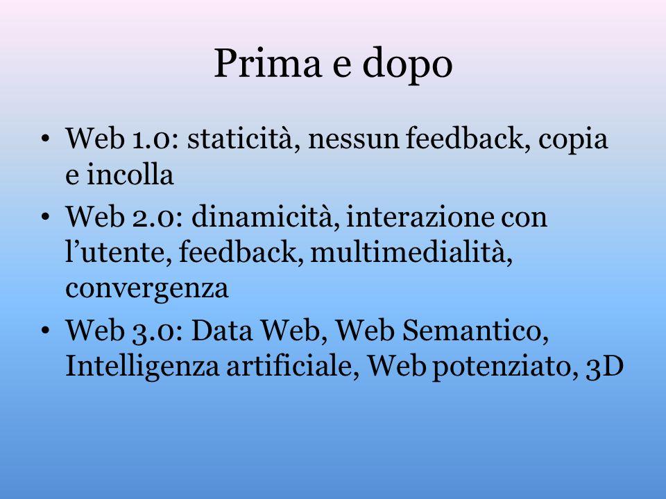 Prima e dopo Web 1.0: staticità, nessun feedback, copia e incolla