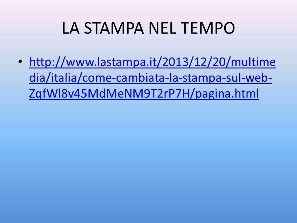 LA STAMPA NEL TEMPO http://www.lastampa.it/2013/12/20/multimedia/italia/come-cambiata-la-stampa-sul-web-ZqfWl8v45MdMeNM9T2rP7H/pagina.html.