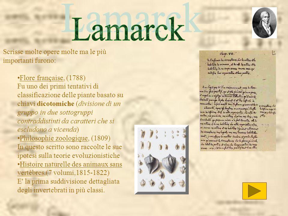 Lamarck Scrisse molte opere molte ma le più importanti furono: