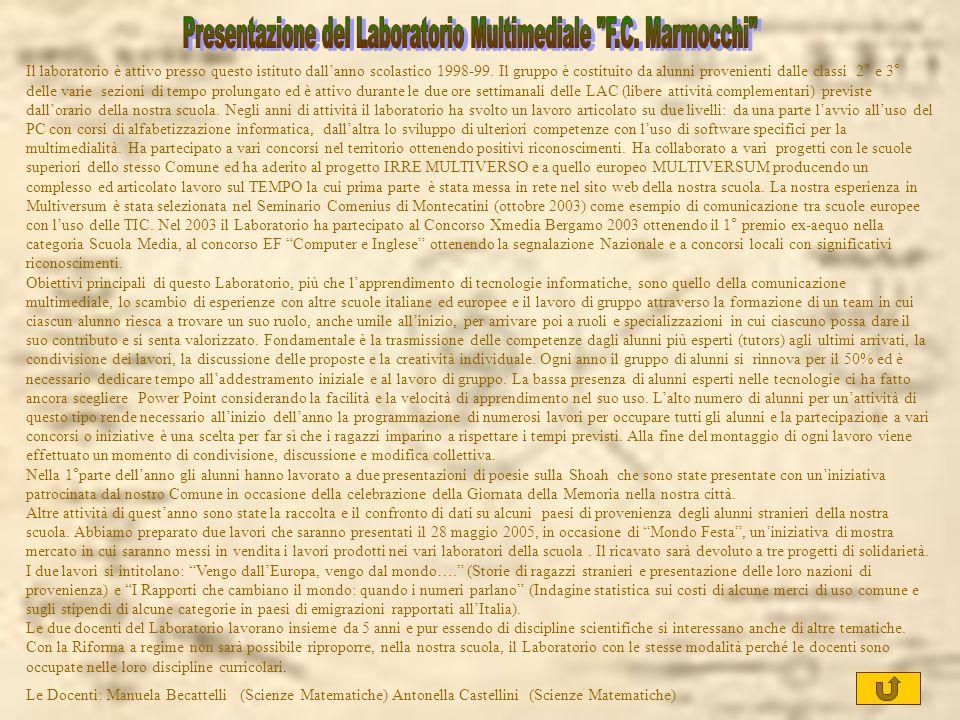 Presentazione del Laboratorio Multimediale F.C. Marmocchi