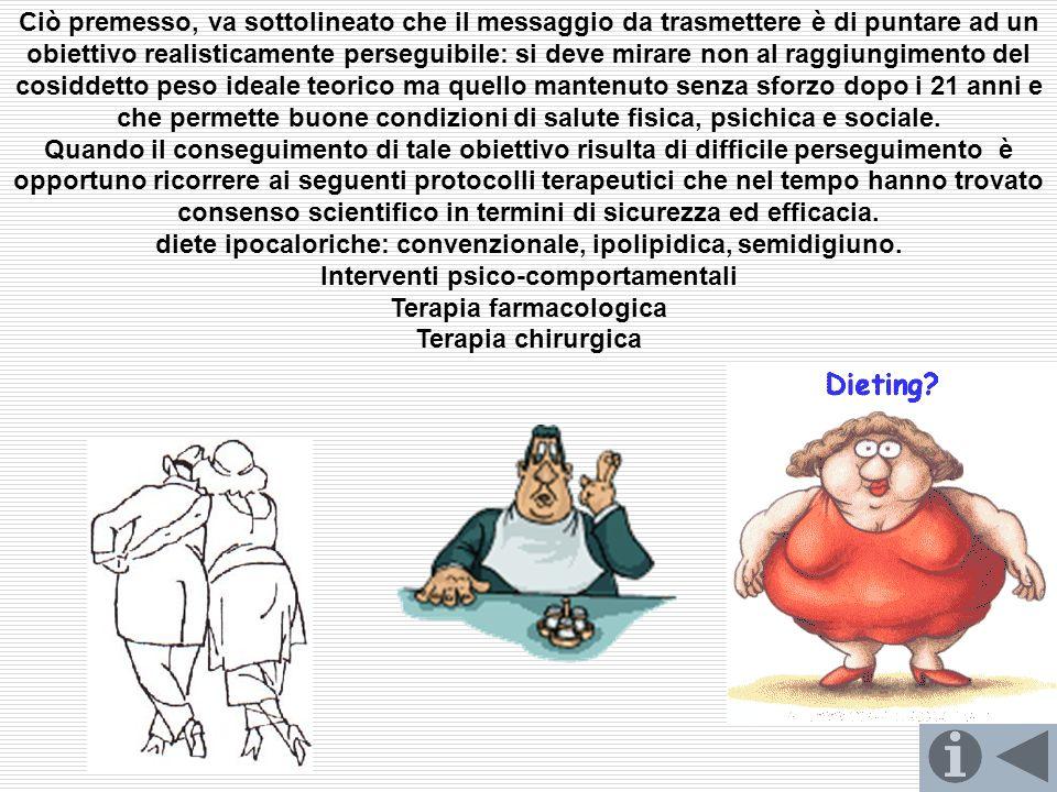 diete ipocaloriche: convenzionale, ipolipidica, semidigiuno.