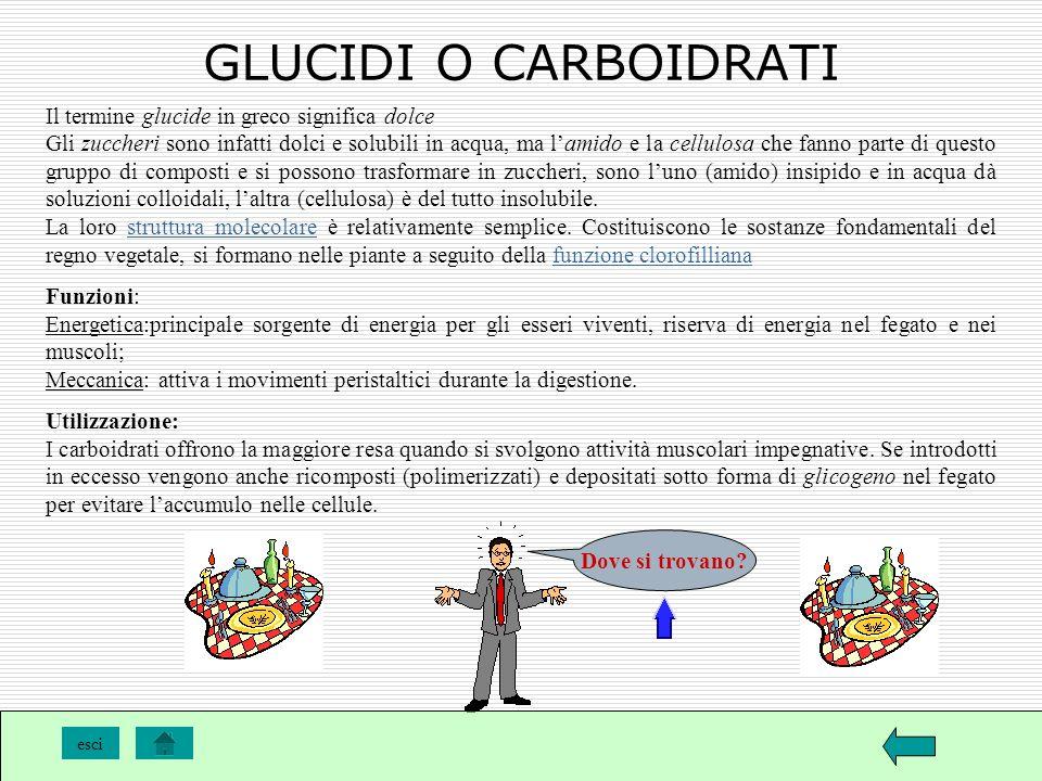 GLUCIDI O CARBOIDRATI Il termine glucide in greco significa dolce