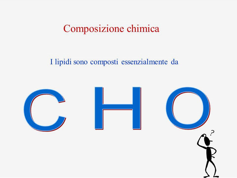Composizione chimica I lipidi sono composti essenzialmente da H O C