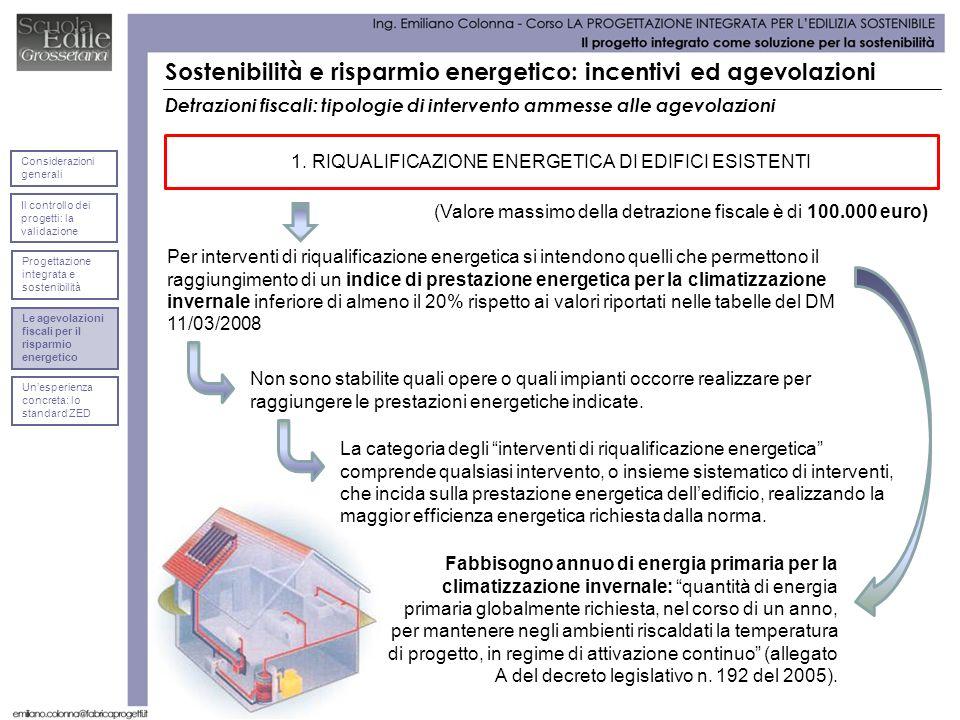 1. RIQUALIFICAZIONE ENERGETICA DI EDIFICI ESISTENTI