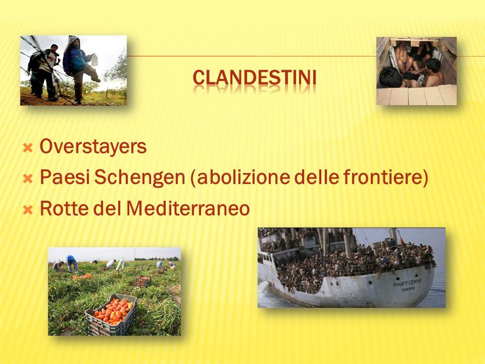 CLANDESTINI Overstayers Paesi Schengen (abolizione delle frontiere) Rotte del Mediterraneo