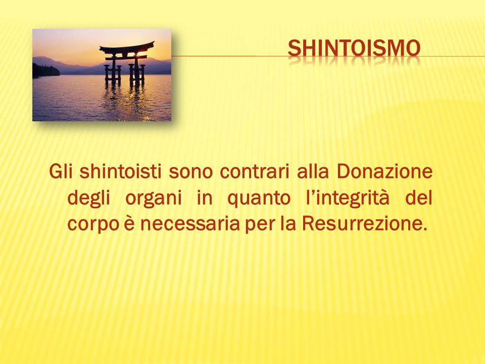 SHINTOISMO Gli shintoisti sono contrari alla Donazione degli organi in quanto l'integrità del corpo è necessaria per la Resurrezione.
