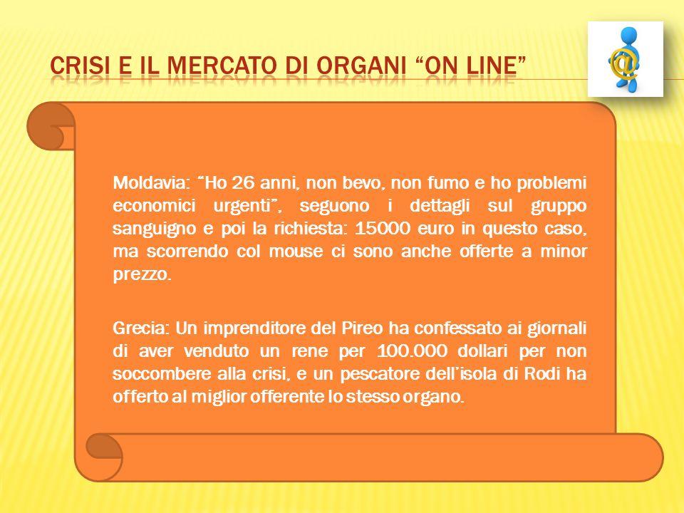 crisi e il mercato di organi on line