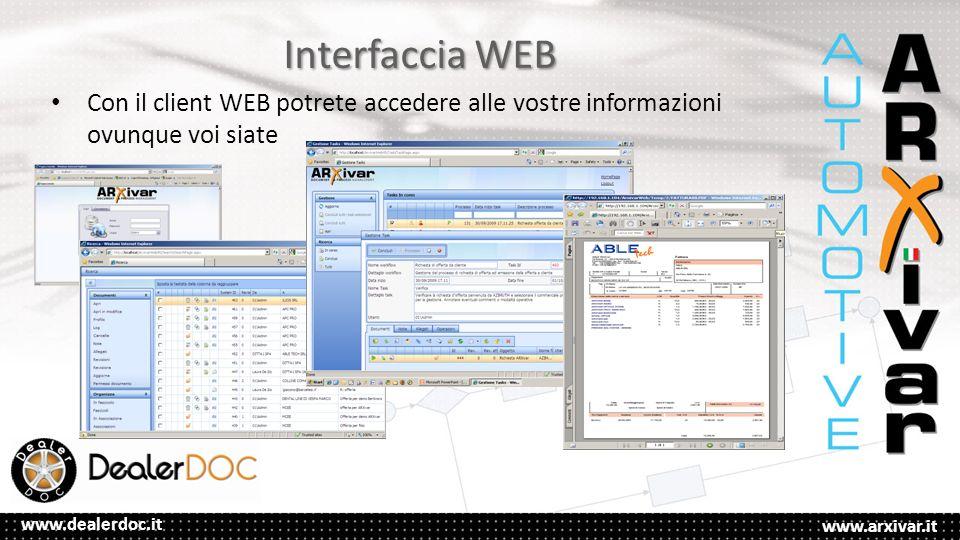 Interfaccia WEB Con il client WEB potrete accedere alle vostre informazioni ovunque voi siate
