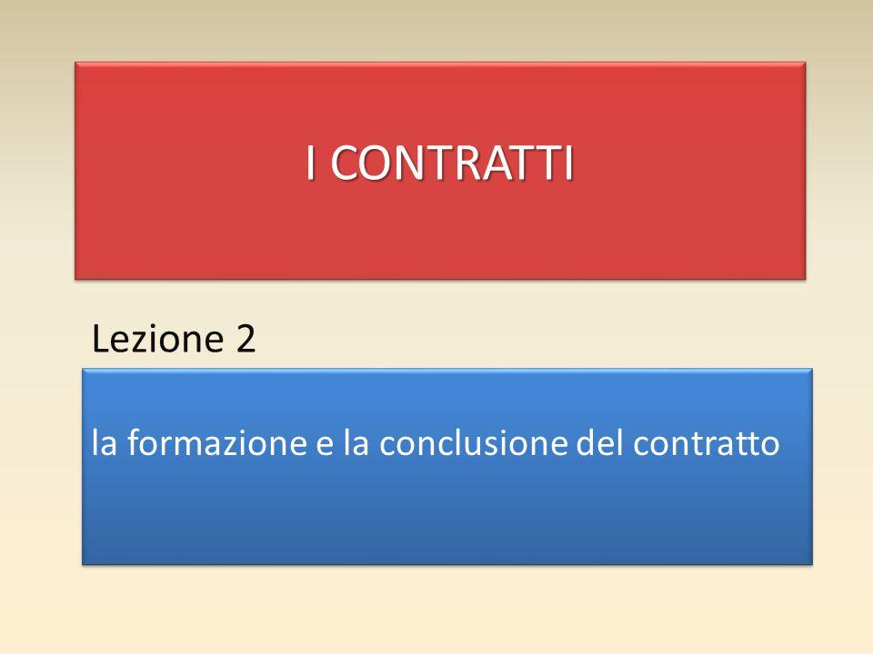 I CONTRATTI Lezione 2 la formazione e la conclusione del contratto