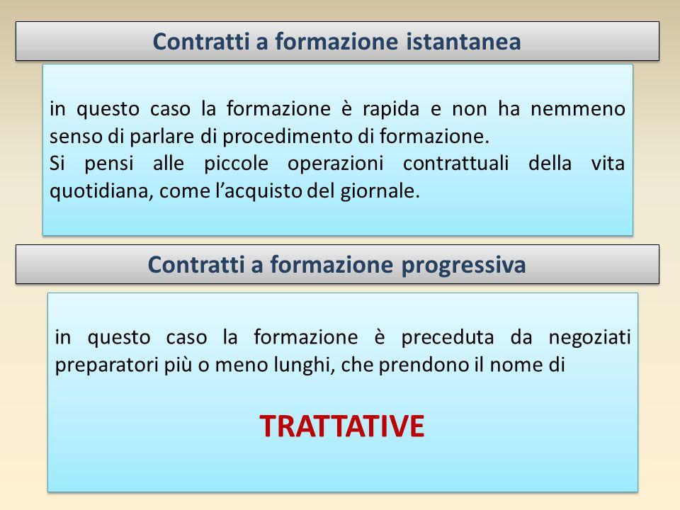 Contratti a formazione istantanea Contratti a formazione progressiva