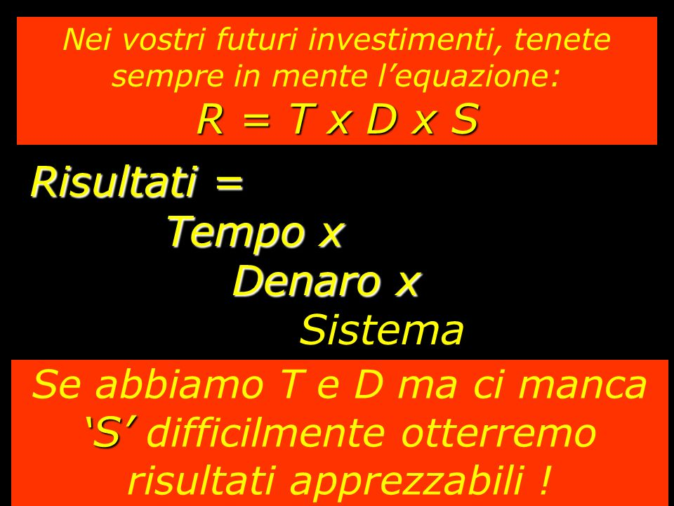 Risultati = Tempo x Denaro x Sistema