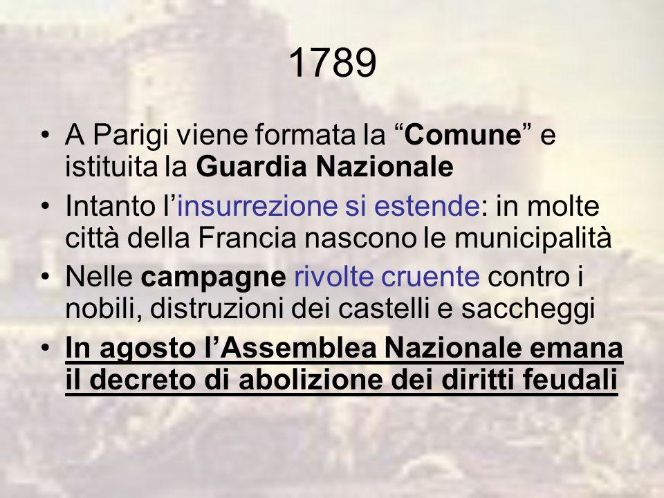 1789 A Parigi viene formata la Comune e istituita la Guardia Nazionale.