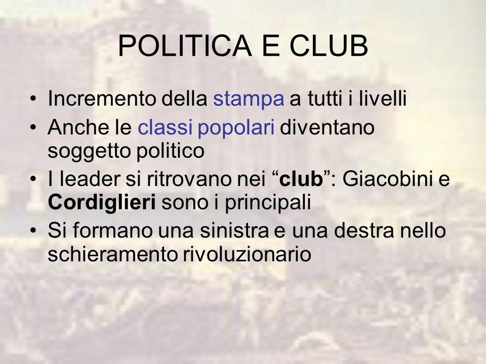 POLITICA E CLUB Incremento della stampa a tutti i livelli