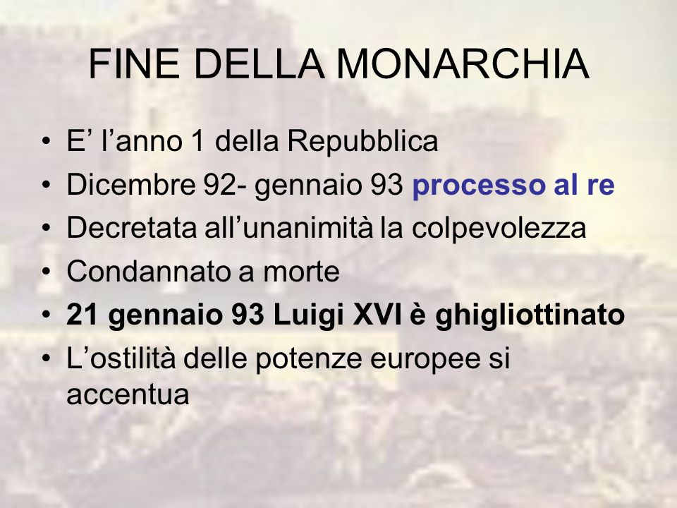 FINE DELLA MONARCHIA E' l'anno 1 della Repubblica