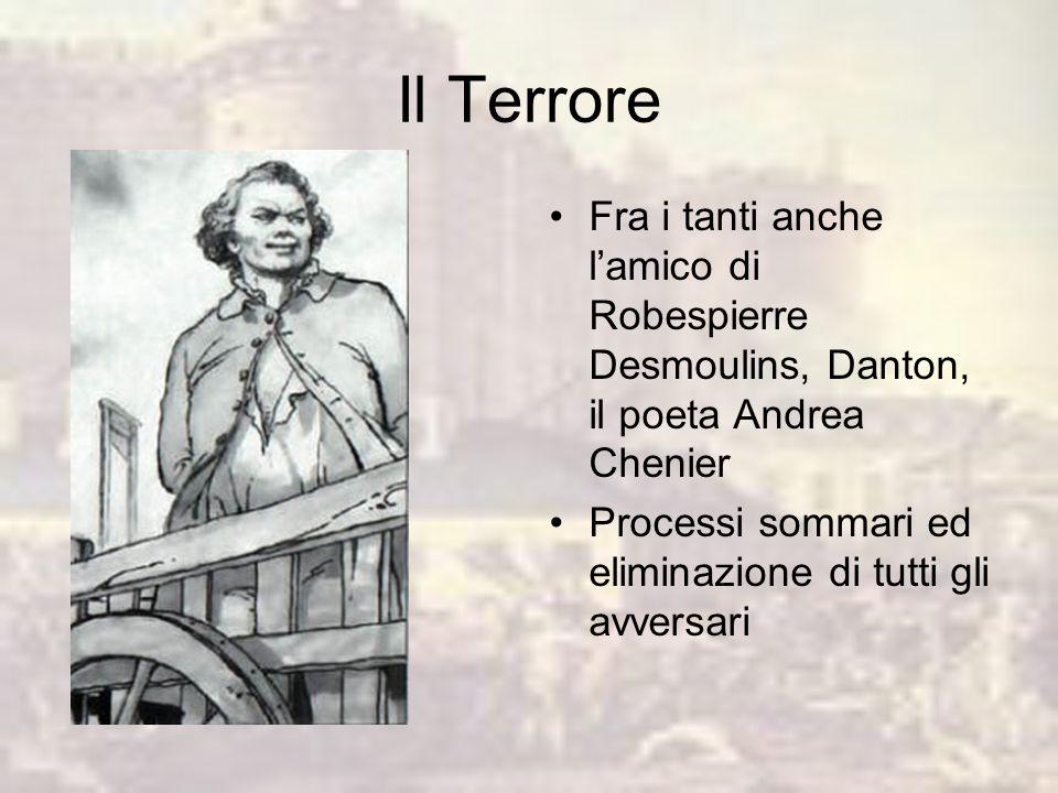 Il Terrore Fra i tanti anche l'amico di Robespierre Desmoulins, Danton, il poeta Andrea Chenier.