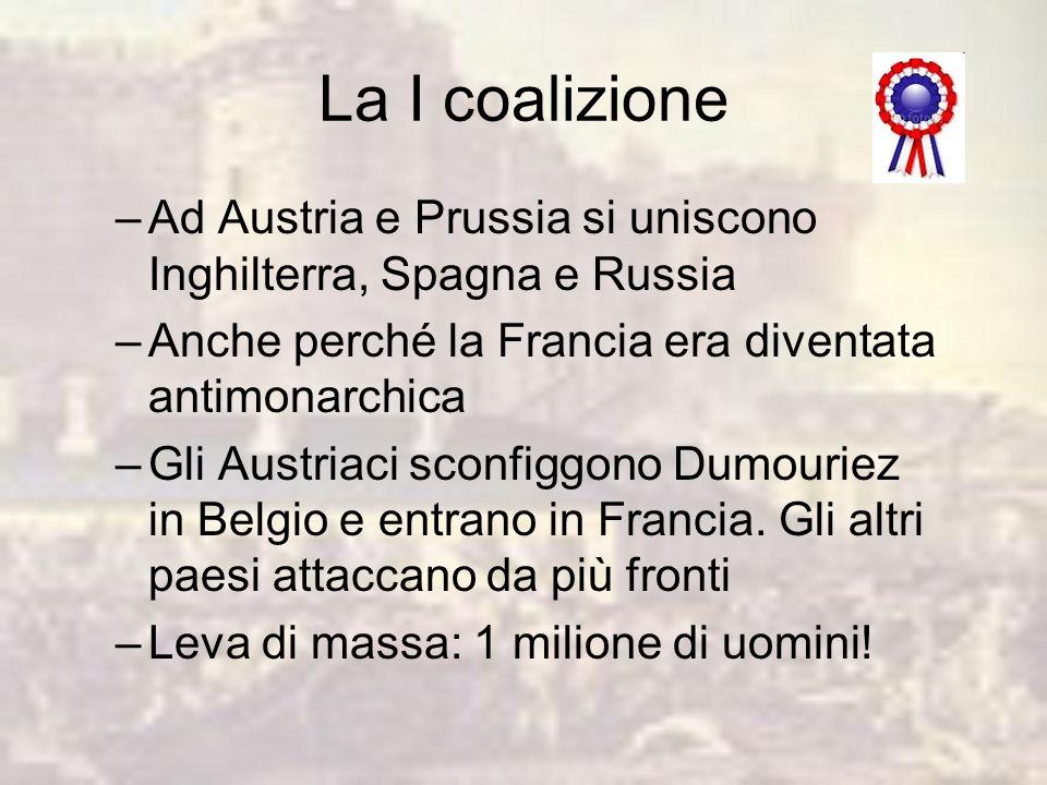 La I coalizione Ad Austria e Prussia si uniscono Inghilterra, Spagna e Russia. Anche perché la Francia era diventata antimonarchica.