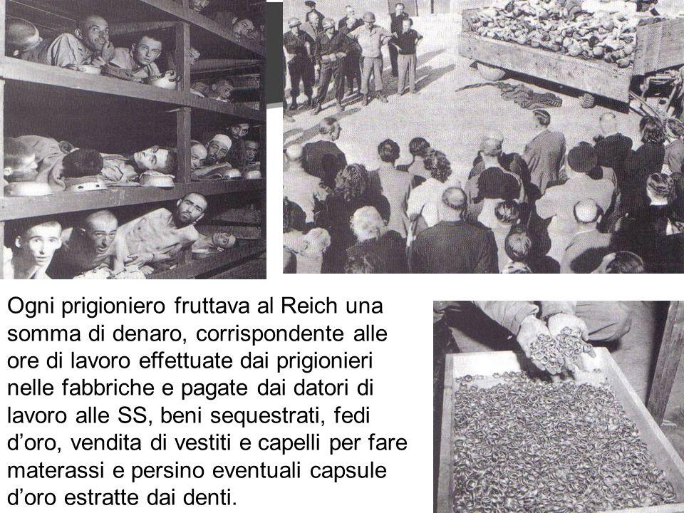 Ogni prigioniero fruttava al Reich una somma di denaro, corrispondente alle ore di lavoro effettuate dai prigionieri nelle fabbriche e pagate dai datori di lavoro alle SS, beni sequestrati, fedi d'oro, vendita di vestiti e capelli per fare materassi e persino eventuali capsule d'oro estratte dai denti.