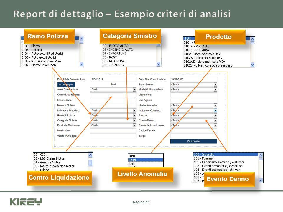 Report di dettaglio – Esempio criteri di analisi