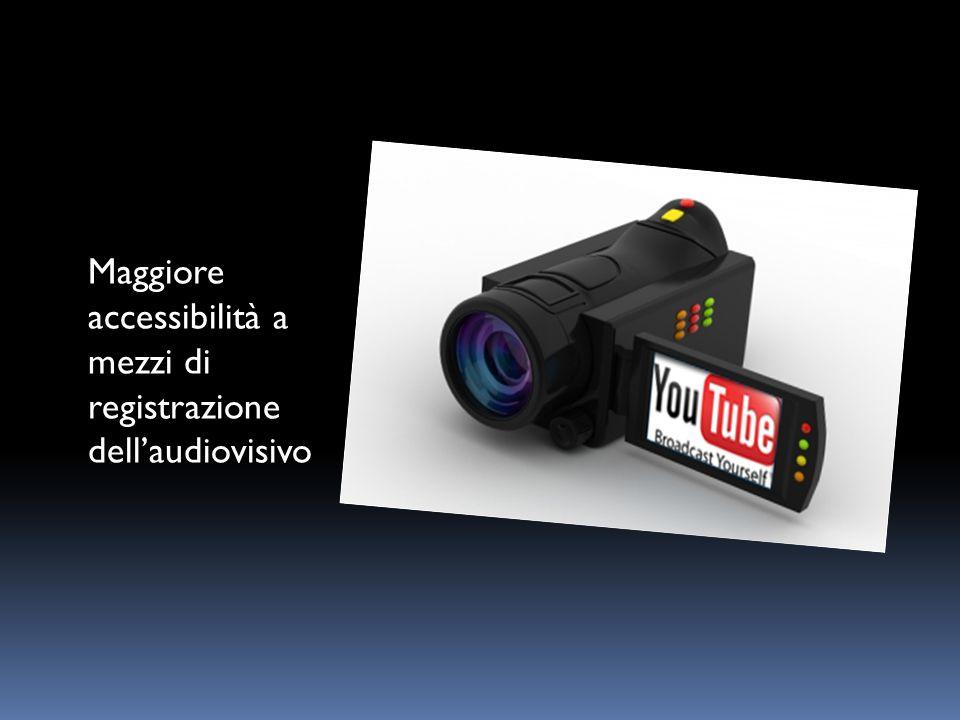 Maggiore accessibilità a mezzi di registrazione dell'audiovisivo