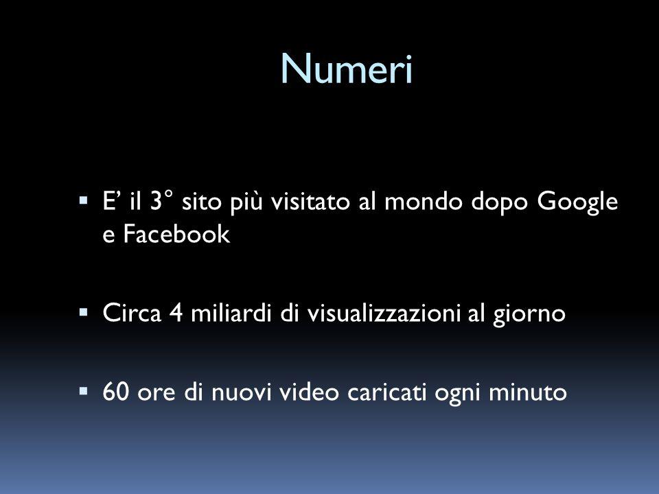 Numeri E' il 3° sito più visitato al mondo dopo Google e Facebook