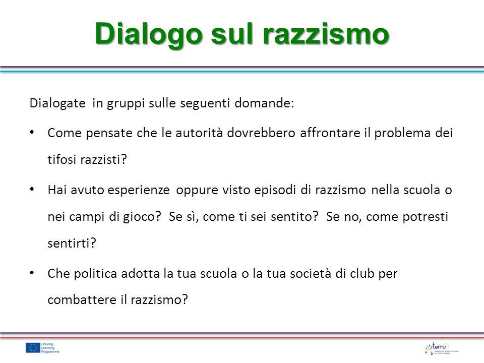 Dialogo sul razzismo Dialogate in gruppi sulle seguenti domande: