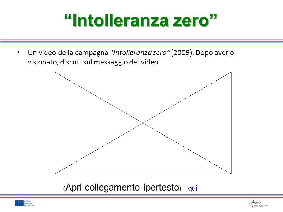 Intolleranza zero Un video della campagna Intolleranza zero (2009). Dopo averlo visionato, discuti sul messaggio del video.