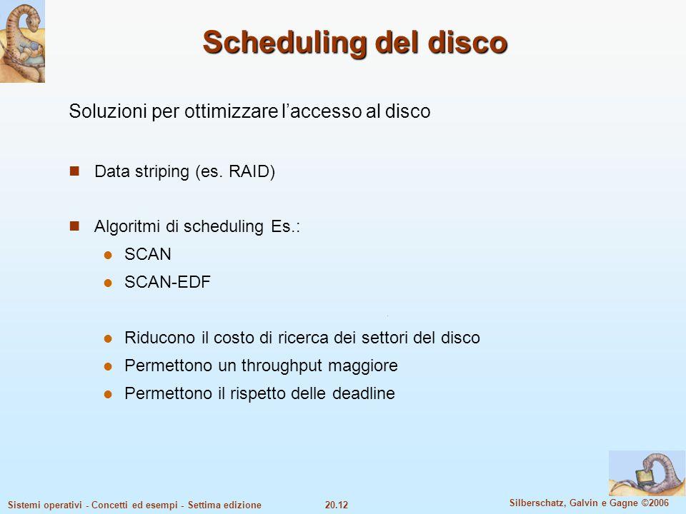 Scheduling del disco Soluzioni per ottimizzare l'accesso al disco