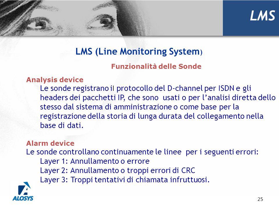 LMS (Line Monitoring System) Funzionalità delle Sonde