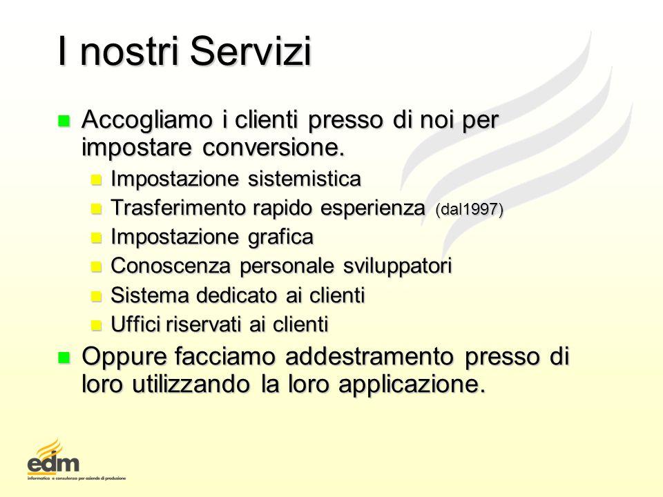I nostri Servizi Accogliamo i clienti presso di noi per impostare conversione. Impostazione sistemistica.
