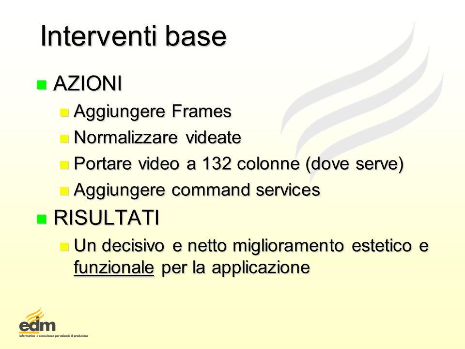 Interventi base AZIONI RISULTATI Aggiungere Frames